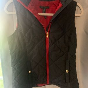 Black and red zip up vest